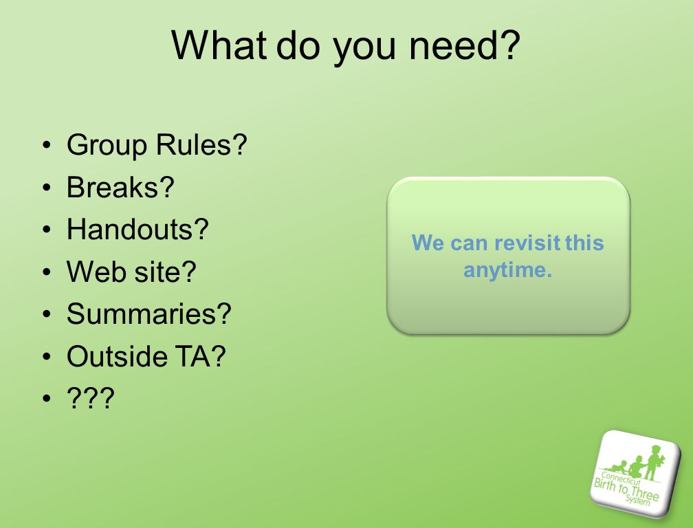 What do you need. Group Rules. Breaks. Handouts.