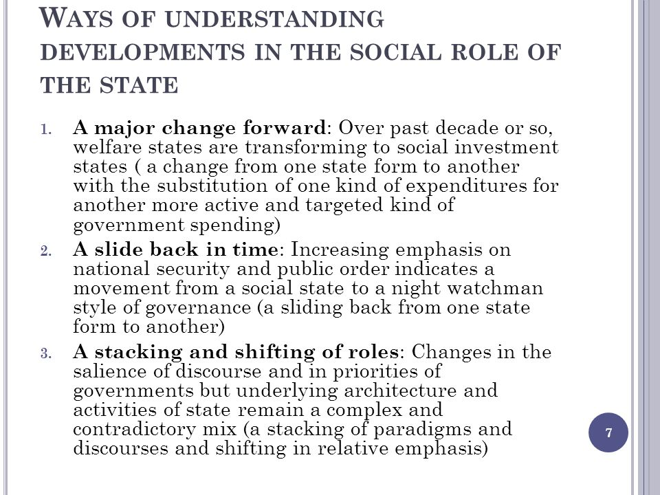 W AYS OF UNDERSTANDING DEVELOPMENTS IN THE SOCIAL ROLE OF THE STATE 1.