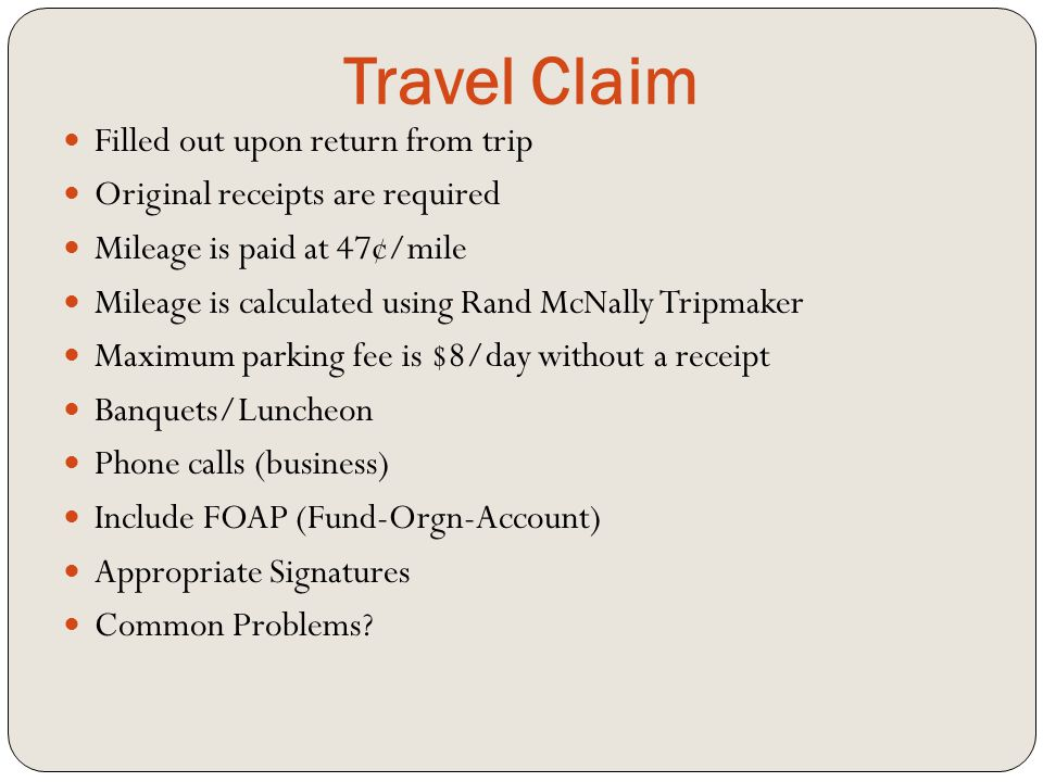 Travel Claim