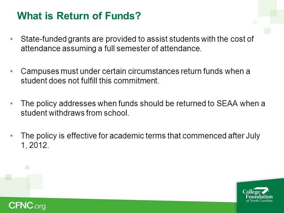 What is Return of Funds.
