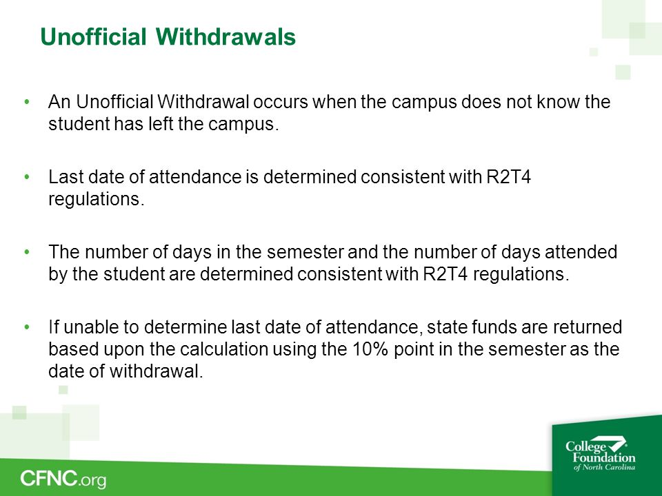 Unofficial Withdrawals Earning no Academic Credit If a student, who unofficially withdrew, was later determined to have completed the term and earned no academic credit, the institution is not required to return state funds.