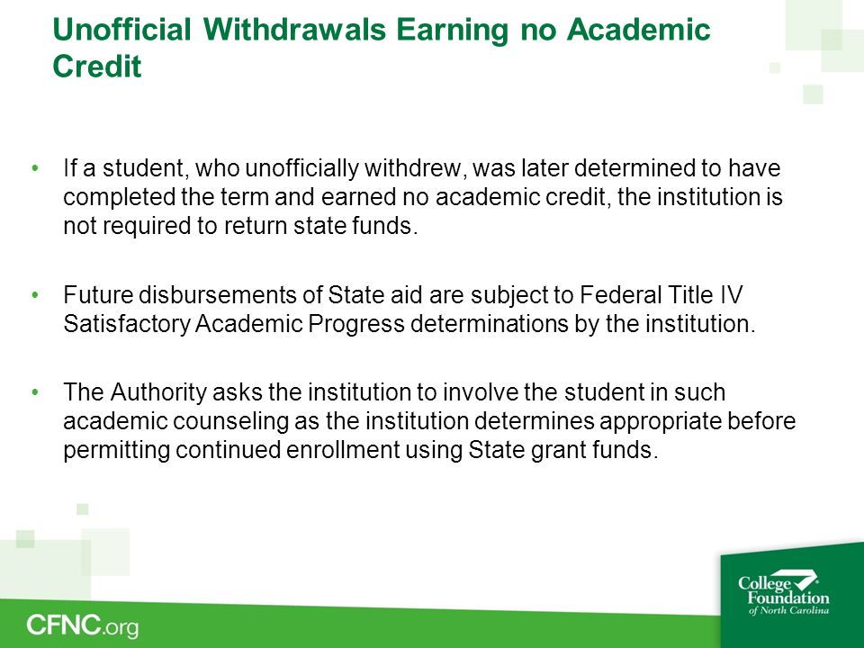 Unofficial Withdrawals Earning no Academic Credit If a student, who unofficially withdrew, was later determined to have completed the term and earned
