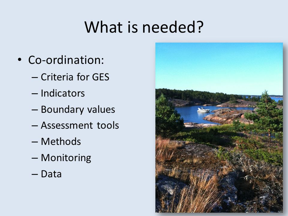 What is needed? Co-ordination: – Criteria for GES – Indicators – Boundary values – Assessment tools – Methods – Monitoring – Data