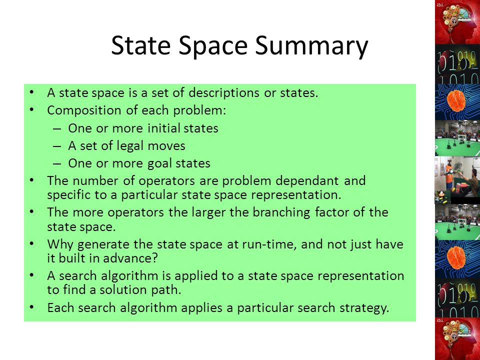 State Space Summary A state space is a set of descriptions or states. Composition of each problem: – One or more initial states – A set of legal moves