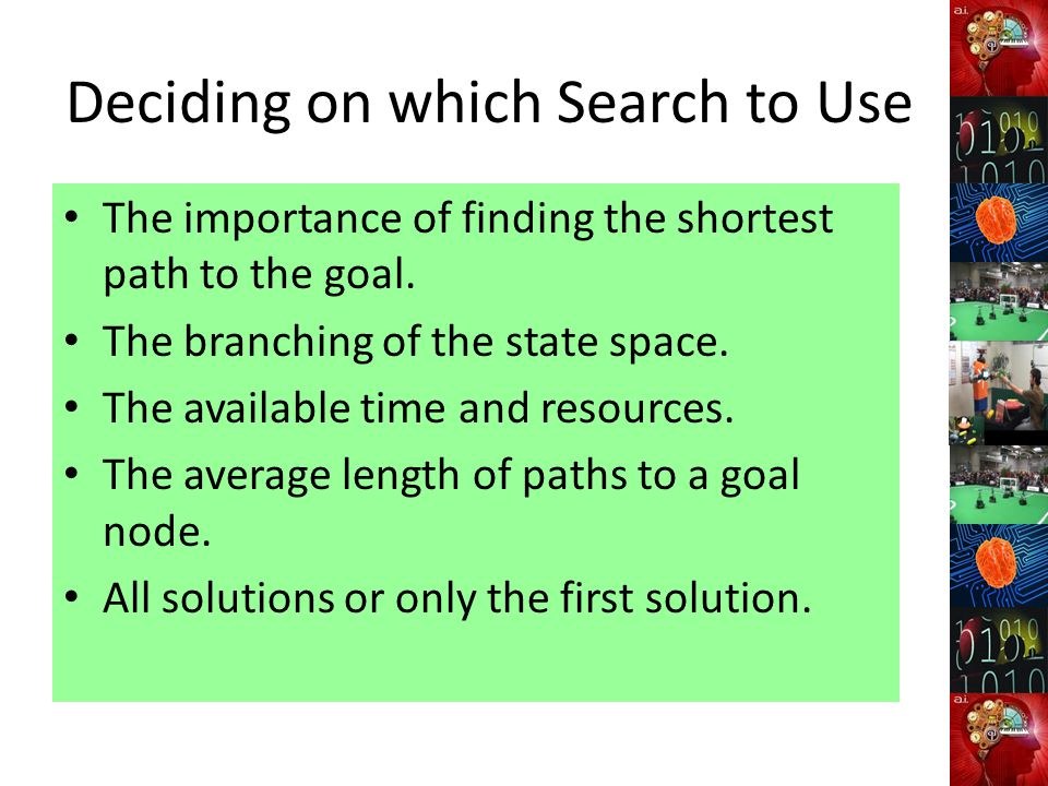 Deciding on which Search to Use The importance of finding the shortest path to the goal. The branching of the state space. The available time and reso