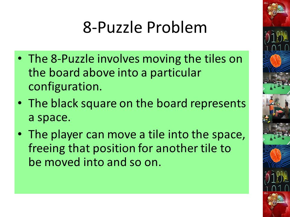 8-Puzzle Problem The 8-Puzzle involves moving the tiles on the board above into a particular configuration.