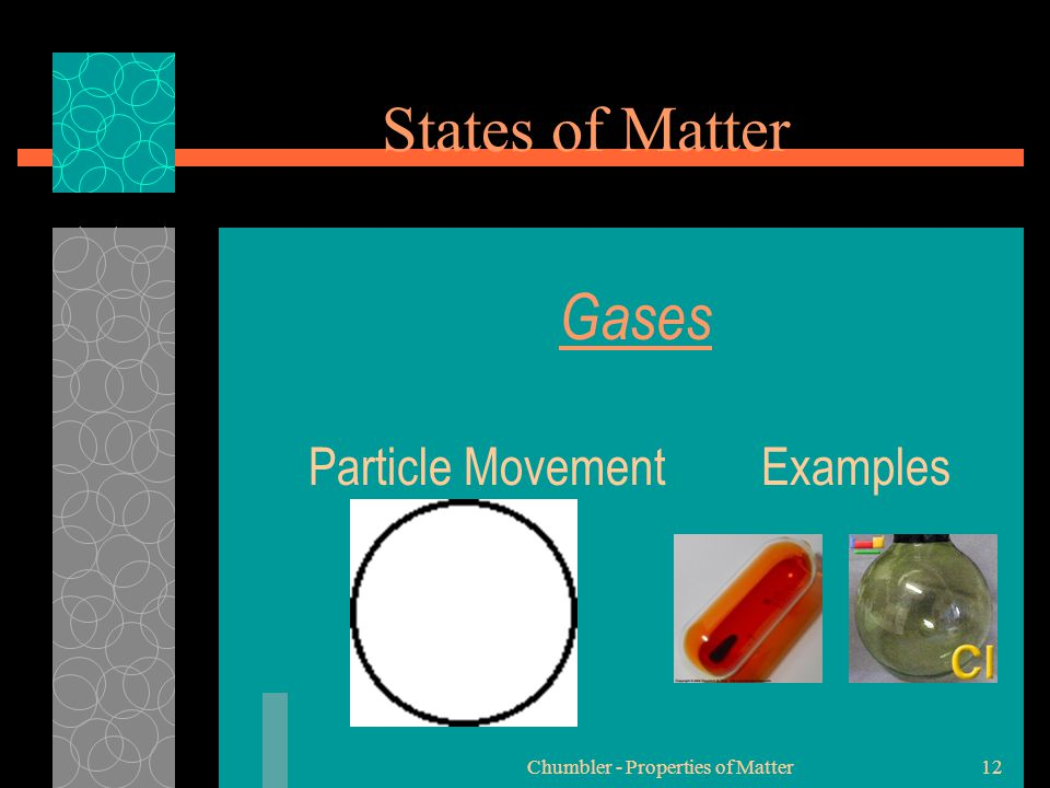 Chumbler - Properties of Matter12 Gases Particle Movement Examples States of Matter