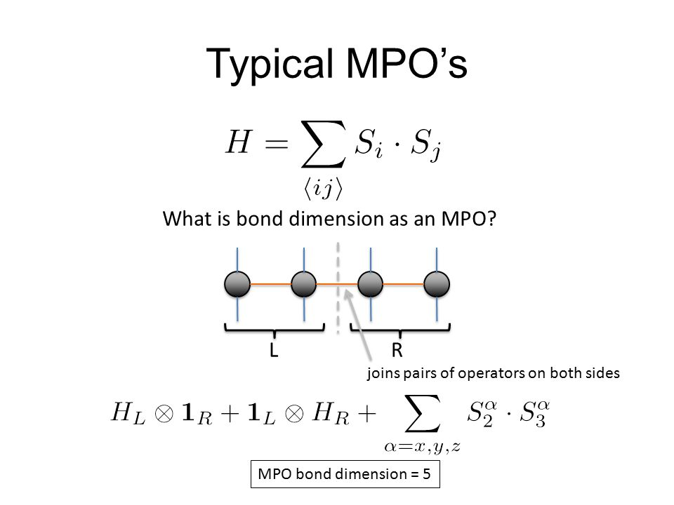 Typical MPO's What is bond dimension as an MPO.