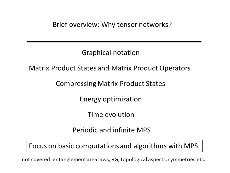 Brief overview: Why tensor networks.