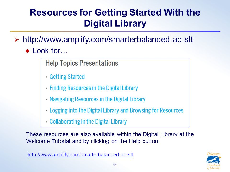 Resources for Getting Started With the Digital Library  http://www.amplify.com/smarterbalanced-ac-slt Look for… 11 These resources are also available within the Digital Library at the Welcome Tutorial and by clicking on the Help button.