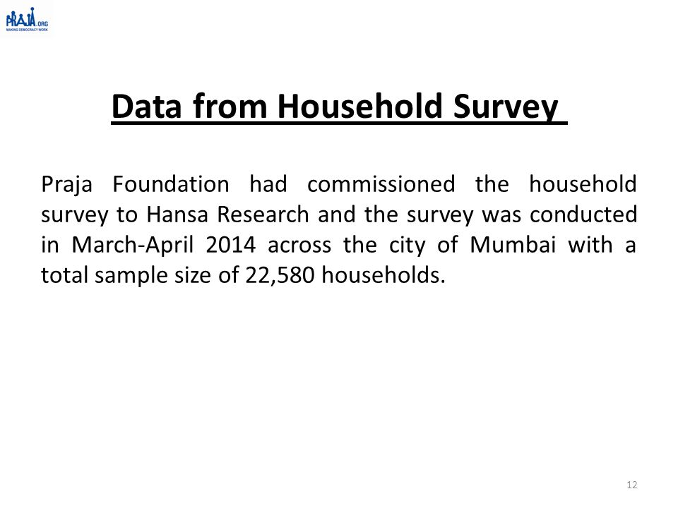 Praja Foundation had commissioned the household survey to Hansa Research and the survey was conducted in March-April 2014 across the city of Mumbai with a total sample size of 22,580 households.