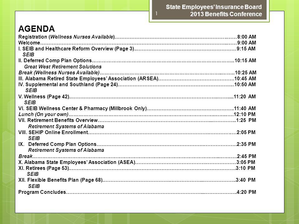 AGENDA Registration (Wellness Nurses Available)…………………………………………………………..……8:00 AM Welcome…………………………………………………………………………………………………..……9:00 AM I. SEIB and H