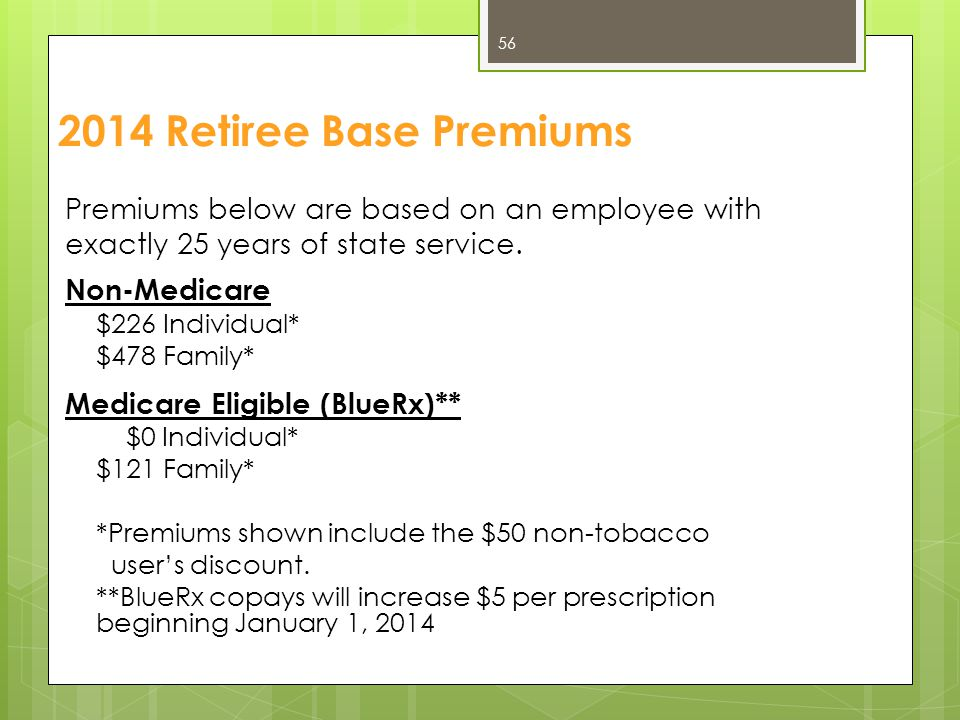 2014 Retiree Base Premiums Premiums below are based on an employee with exactly 25 years of state service. Non-Medicare $226 Individual* $478 Family*