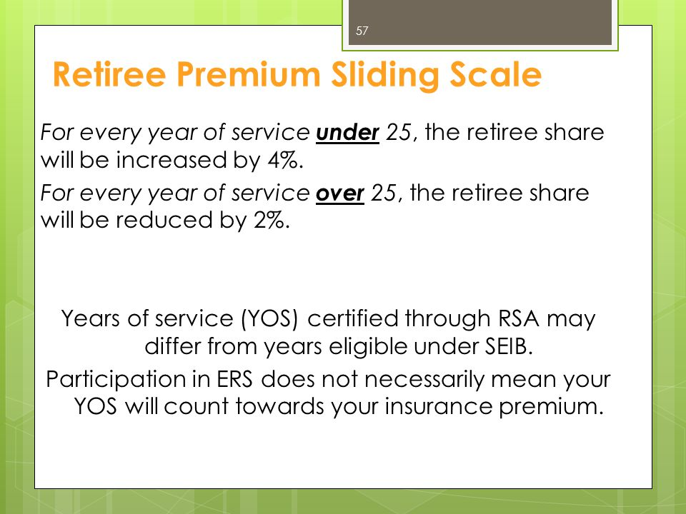 Retiree Premium Sliding Scale For every year of service under 25, the retiree share will be increased by 4%. For every year of service over 25, the re