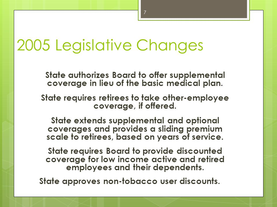 2005 Legislative Changes State authorizes Board to offer supplemental coverage in lieu of the basic medical plan. State requires retirees to take othe