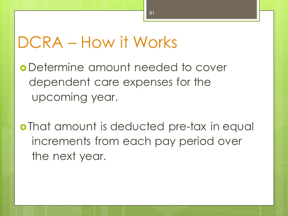 DCRA – How it Works  Determine amount needed to cover dependent care expenses for the upcoming year.  That amount is deducted pre-tax in equal incre