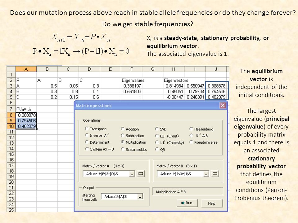 Eigenvalues and eigenvectors of probability matrices Column sums of probability matrices are 1.