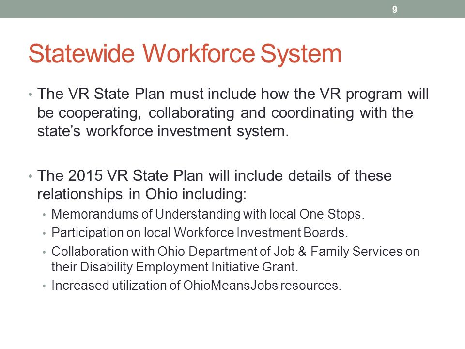Statewide Workforce System The VR State Plan must include how the VR program will be cooperating, collaborating and coordinating with the state's workforce investment system.