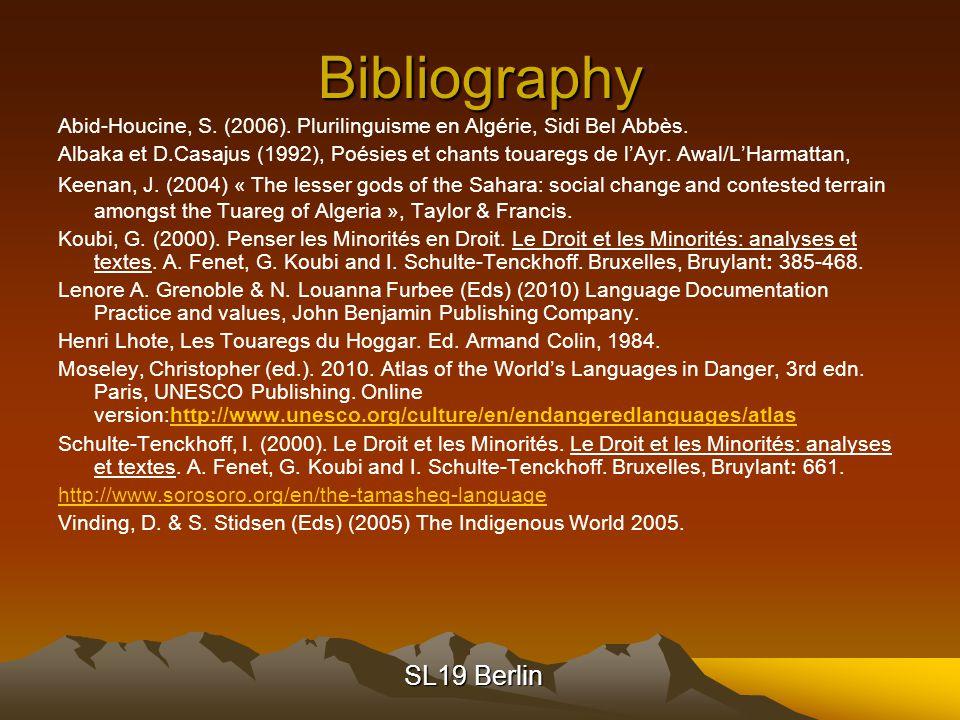 SL19 Berlin Bibliography Abid-Houcine, S. (2006).