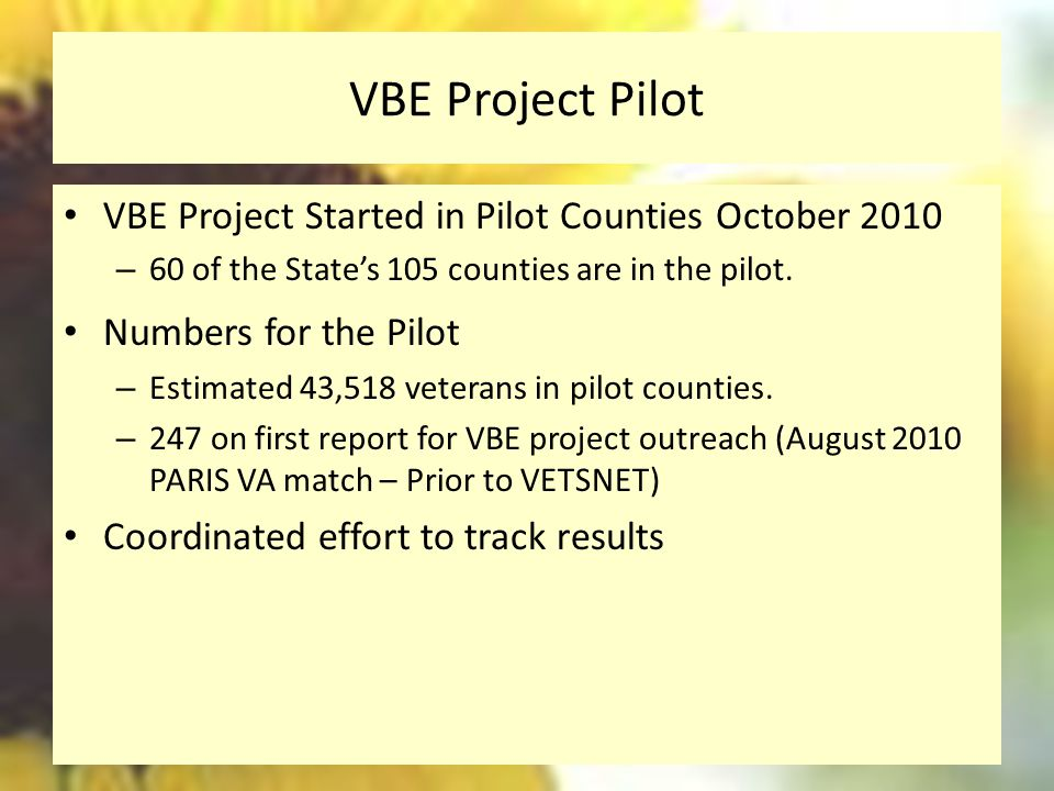 VBE Project Pilot VBE Project Started in Pilot Counties October 2010 – 60 of the State's 105 counties are in the pilot.