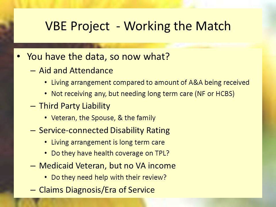VBE Project - Working the Match You have the data, so now what.