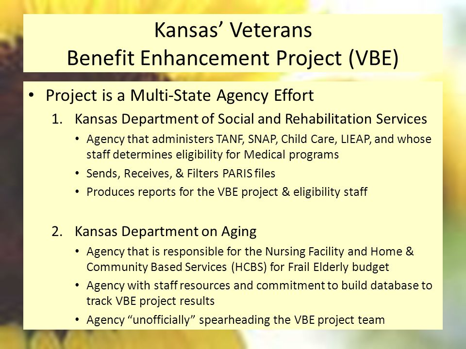 Kansas' Veterans Benefit Enhancement Project (VBE) Project is a Multi-State Agency Effort 1.Kansas Department of Social and Rehabilitation Services Agency that administers TANF, SNAP, Child Care, LIEAP, and whose staff determines eligibility for Medical programs Sends, Receives, & Filters PARIS files Produces reports for the VBE project & eligibility staff 2.Kansas Department on Aging Agency that is responsible for the Nursing Facility and Home & Community Based Services (HCBS) for Frail Elderly budget Agency with staff resources and commitment to build database to track VBE project results Agency unofficially spearheading the VBE project team