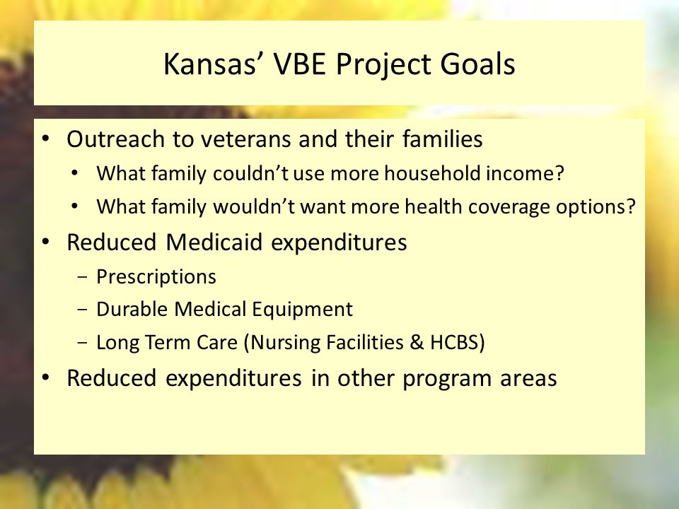Kansas' VBE Project Goals Outreach to veterans and their families What family couldn't use more household income.