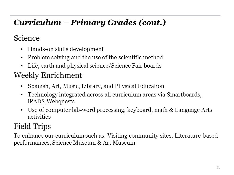 Curriculum – Primary Grades (cont.) Science Hands-on skills development Problem solving and the use of the scientific method Life, earth and physical science/Science Fair boards Weekly Enrichment Spanish, Art, Music, Library, and Physical Education Technology integrated across all curriculum areas via Smartboards, iPADS,Webquests Use of computer lab-word processing, keyboard, math & Language Arts activities Field Trips To enhance our curriculum such as: Visiting community sites, Literature-based performances, Science Museum & Art Museum 23
