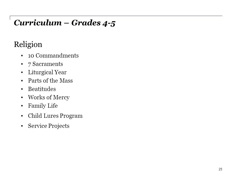 Curriculum – Grades 4-5 Religion 10 Commandments 7 Sacraments Liturgical Year Parts of the Mass Beatitudes Works of Mercy Family Life Child Lures Program Service Projects 25