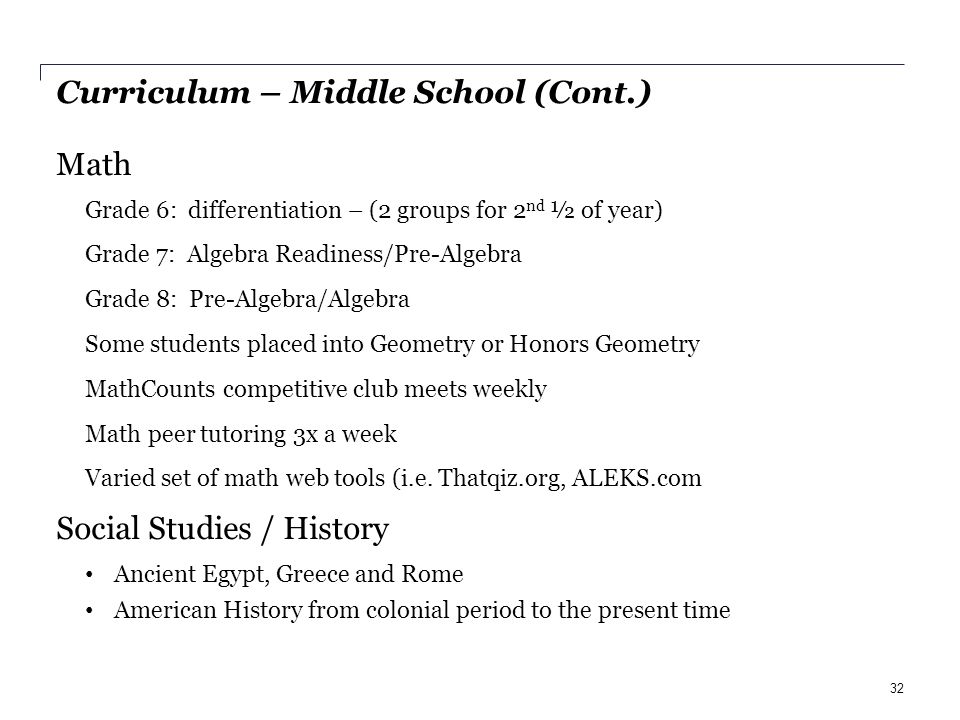 Curriculum – Middle School (Cont.) Math Grade 6: differentiation – (2 groups for 2 nd ½ of year) Grade 7: Algebra Readiness/Pre-Algebra Grade 8: Pre-Algebra/Algebra Some students placed into Geometry or Honors Geometry MathCounts competitive club meets weekly Math peer tutoring 3x a week Varied set of math web tools (i.e.