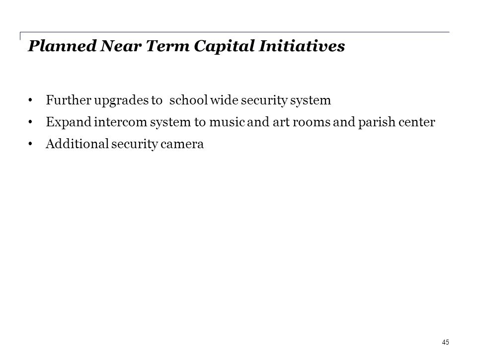 Planned Near Term Capital Initiatives Further upgrades to school wide security system Expand intercom system to music and art rooms and parish center Additional security camera 45
