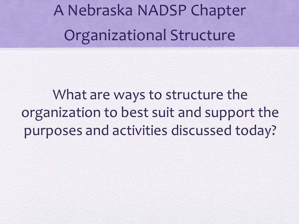 A Nebraska NADSP Chapter Organizational Structure What are ways to structure the organization to best suit and support the purposes and activities dis