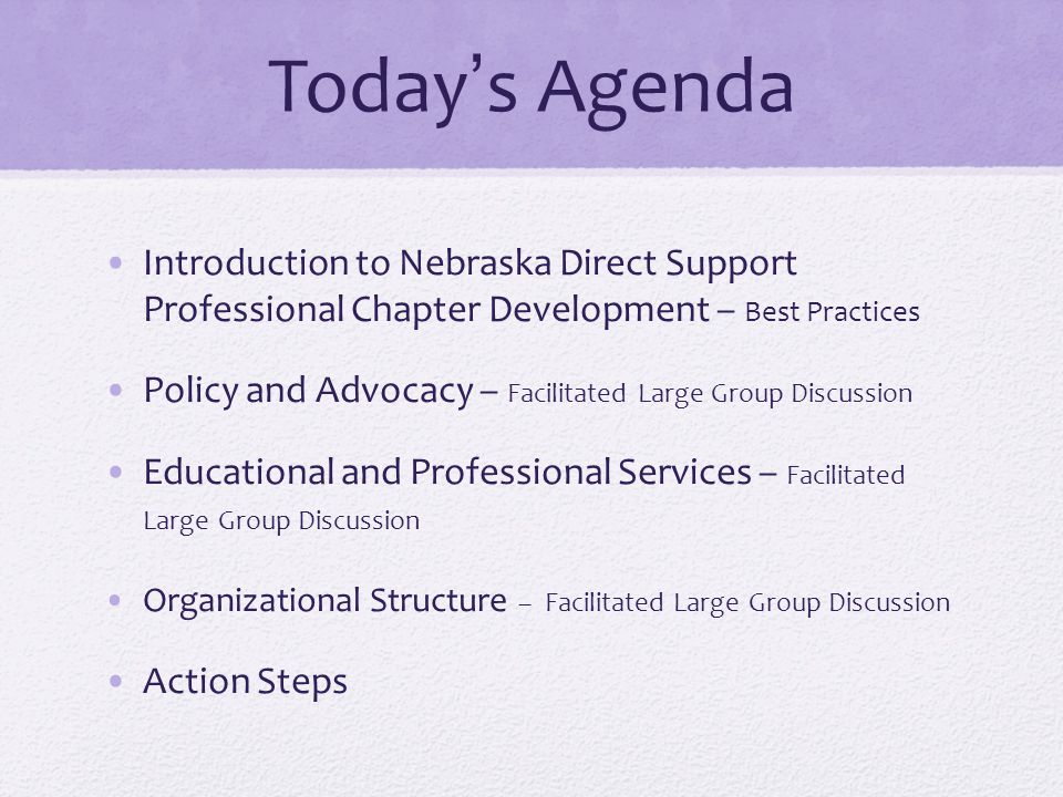 Today's Agenda Introduction to Nebraska Direct Support Professional Chapter Development – Best Practices Policy and Advocacy – Facilitated Large Group