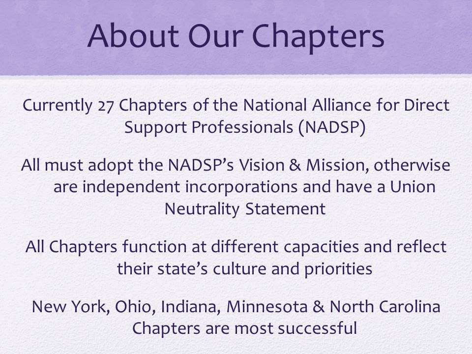 About Our Chapters Currently 27 Chapters of the National Alliance for Direct Support Professionals (NADSP) All must adopt the NADSP's Vision & Mission