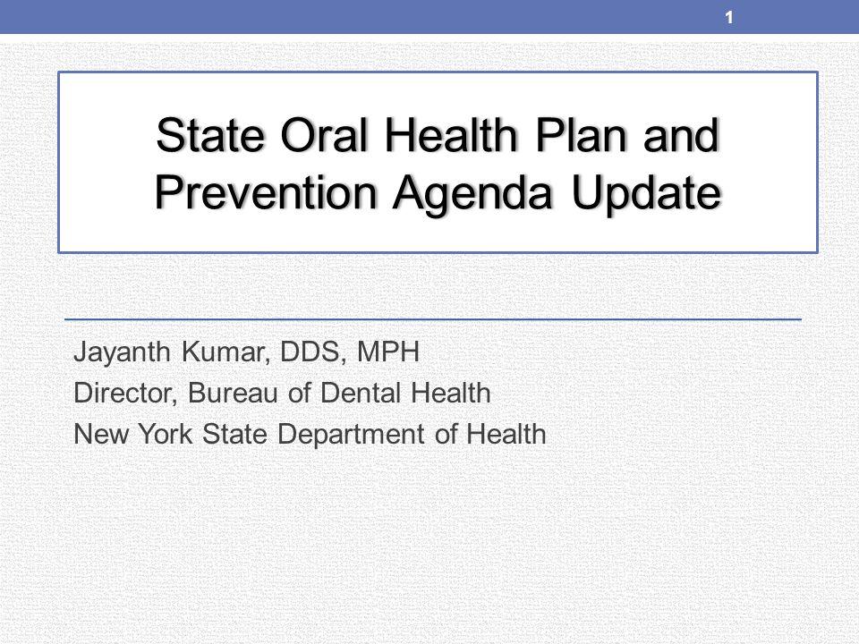 Fluoridation in New York State Prevention Agenda Target 78.5% Population served: 12.9 m (71.4%) Fluoridating Systems: 123
