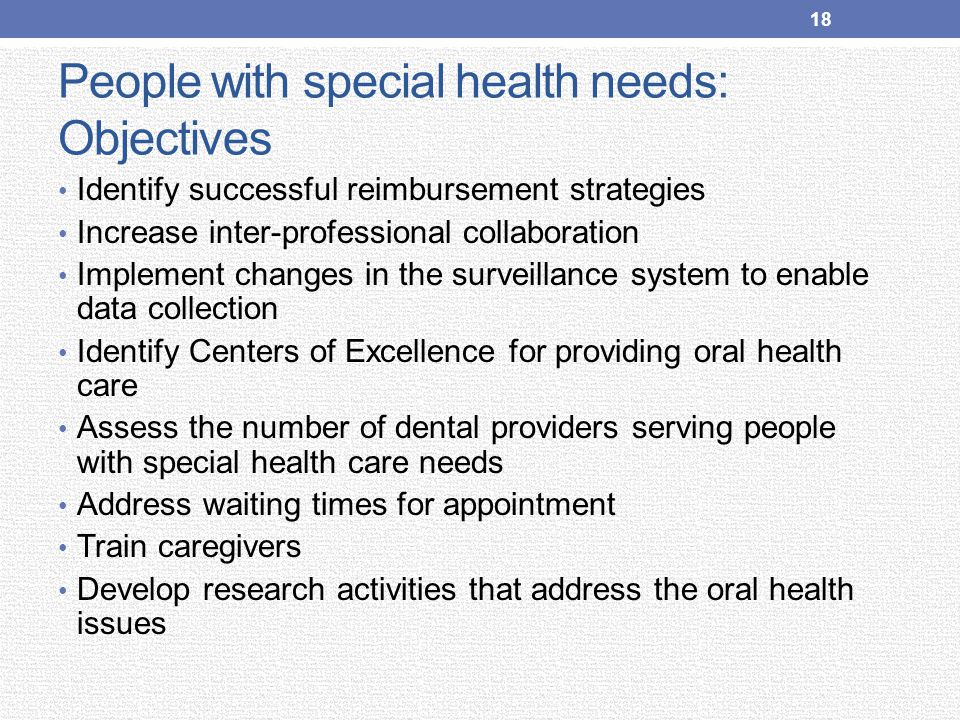 People with special health needs: Objectives Identify successful reimbursement strategies Increase inter-professional collaboration Implement changes