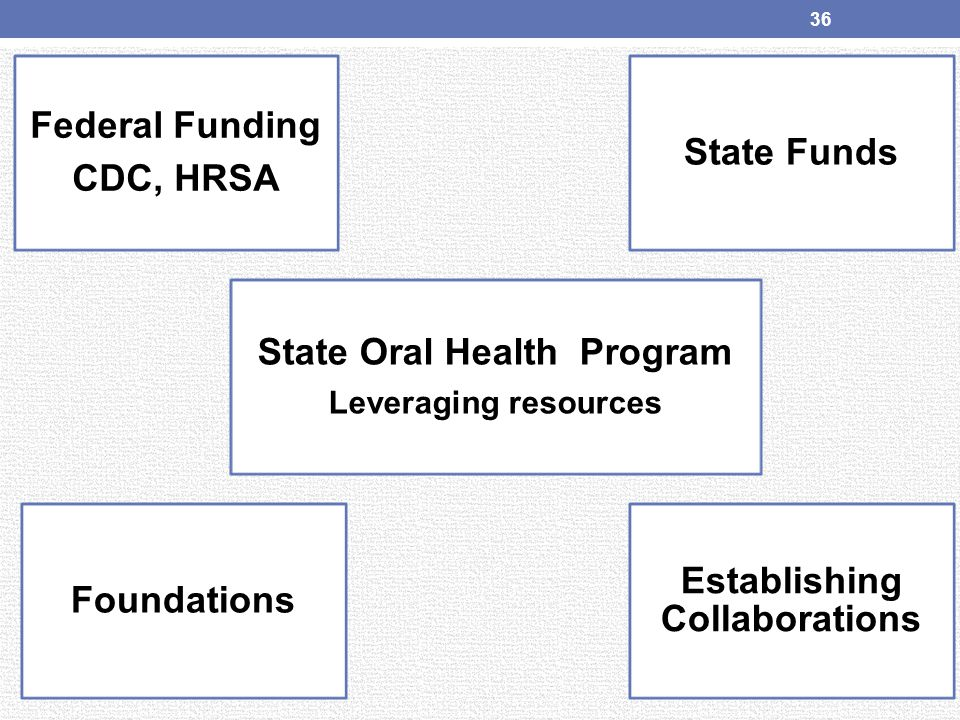 Federal Funding CDC, HRSA State Oral Health Program Leveraging resources State Funds Foundations Establishing Collaborations 36