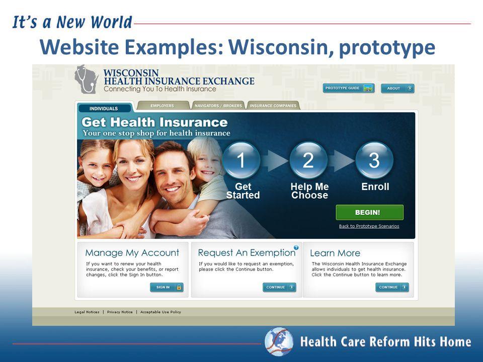 Website Examples: Wisconsin, prototype