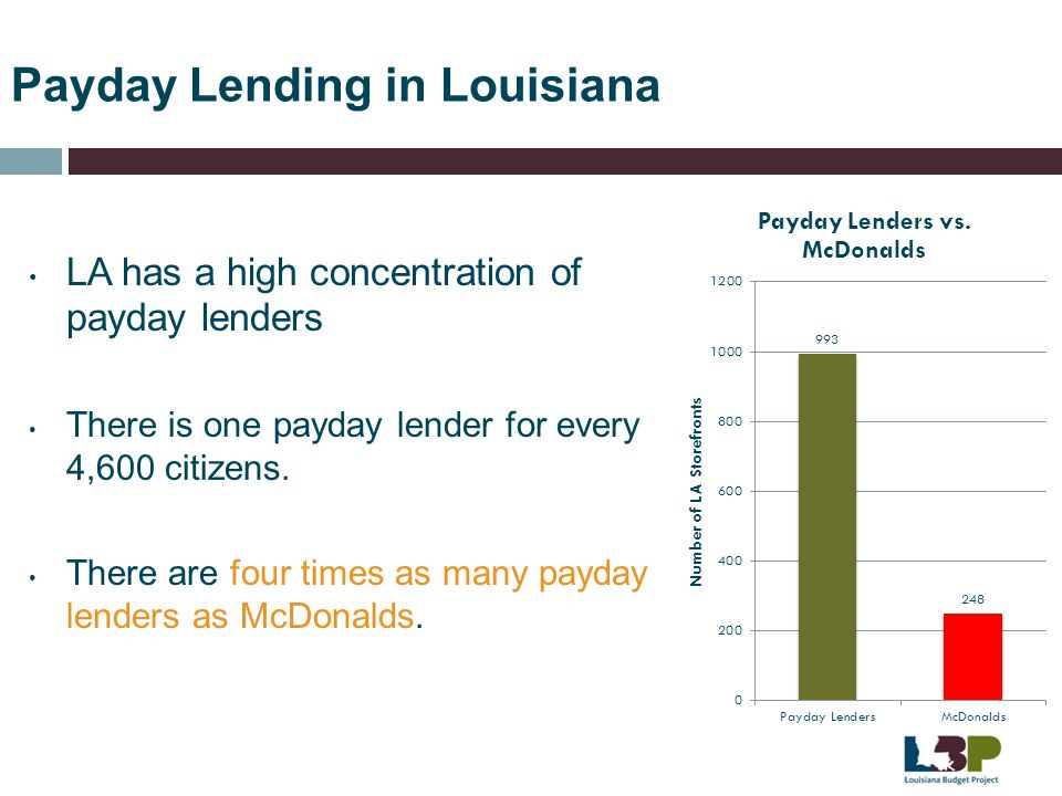 Payday Lending in Louisiana LA has a high concentration of payday lenders There is one payday lender for every 4,600 citizens. There are four times as