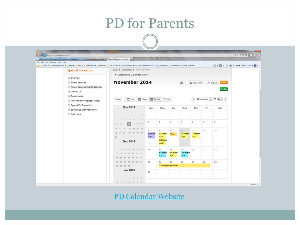 PD for Parents PD Calendar Website