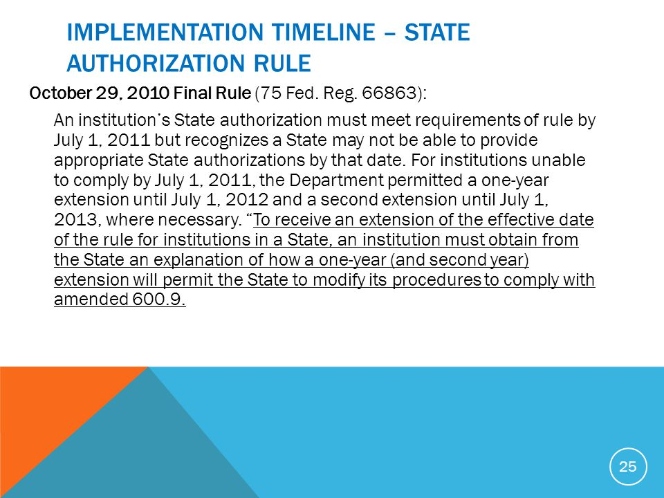 IMPLEMENTATION TIMELINE – STATE AUTHORIZATION RULE October 29, 2010 Final Rule (75 Fed. Reg. 66863): An institution's State authorization must meet re