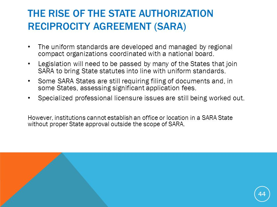 THE RISE OF THE STATE AUTHORIZATION RECIPROCITY AGREEMENT (SARA) The uniform standards are developed and managed by regional compact organizations coo
