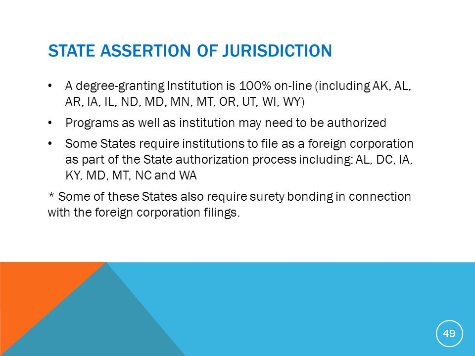 STATE ASSERTION OF JURISDICTION A degree-granting Institution is 100% on-line (including AK, AL, AR, IA, IL, ND, MD, MN, MT, OR, UT, WI, WY) Programs