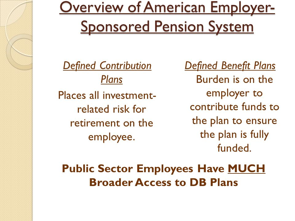 Federal, State, and Local Pension issues exist at every level of the United States government.