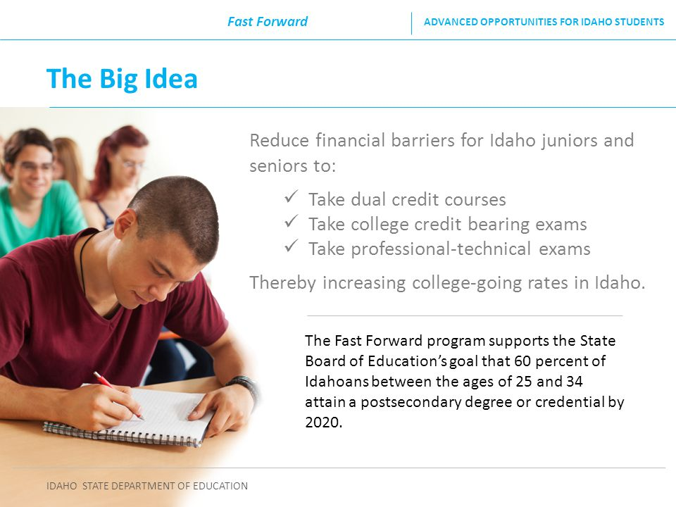 Reduce financial barriers for Idaho juniors and seniors to: Take dual credit courses Take college credit bearing exams Take professional-technical exa