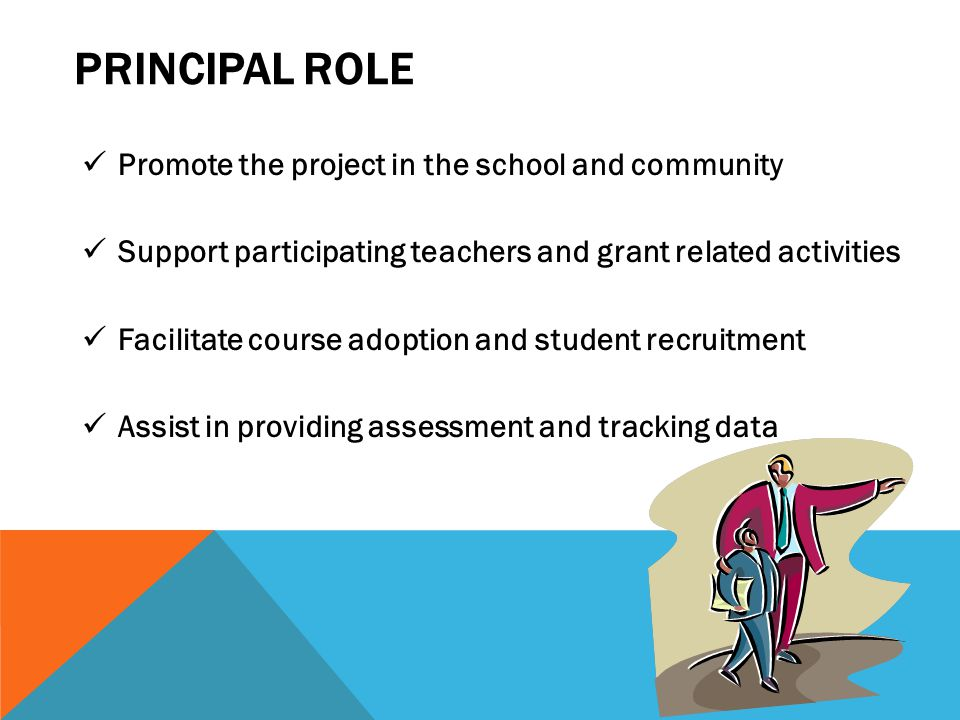 PRINCIPAL ROLE Promote the project in the school and community Support participating teachers and grant related activities Facilitate course adoption