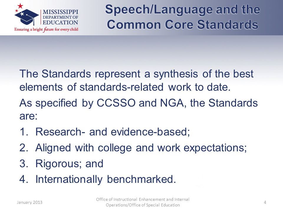 The Standards represent a synthesis of the best elements of standards-related work to date.