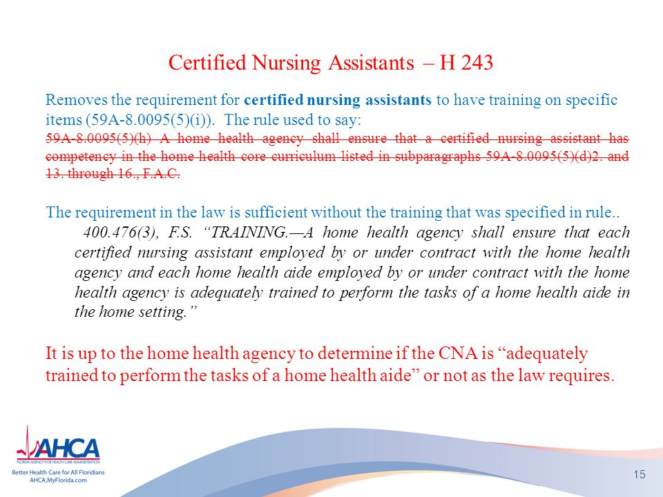 Certified Nursing Assistants – H 243 Removes the requirement for certified nursing assistants to have training on specific items (59A-8.0095(5)(i)). T