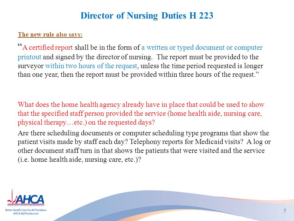 "Director of Nursing Duties H 223 The new rule also says: "" A certified report shall be in the form of a written or typed document or computer printout"