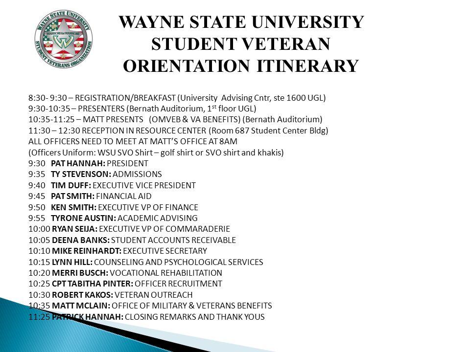 HOSTED BY THE STUDENT VETERANS ORGANIZATION WAYNE STATE UNIVERSITY
